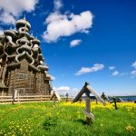 Traditional wooden Russian church on the island of Kizhi