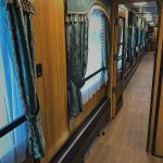 Внутри вагона ретропоезда Рускеала